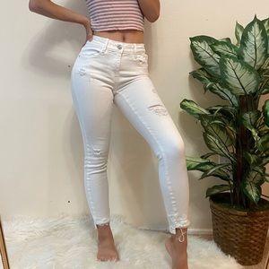 ZARA White Skinny Distressed Jeans